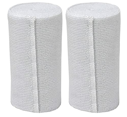GT USA Organic Cotton Soft Woven White (4' Width, 2 Pack) | Cotton Elastic Bandage Wrap | Latex Free | Hook & Loop Fastener at One End | Hypoallergenic Compression Roll for Sprains & Injuries