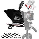 Desview T2 テレプロンプター ポータブル レンズアダプターリング付き リモコン付き スマートフォン/タブレット/一眼レフカメラビデオ録画インタビュープレゼンテーション用 Pergearクリーニングセット同梱