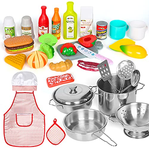 Shimirth 37PCS Pretend Play Kitchen Accessories, Kids Kitchen Playset Stainless Steel Play Pots and Pans Sets for Kids, Apron & Chef Hat, Cooking Utensils, Play Food, Kitchen Toys, Gift for Boys Girls