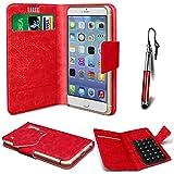 N4U Online®–Oppo Joy Plus rot PU Leder Saugnapf Pad Wallet Schutzhülle und Mini Stylus Pen