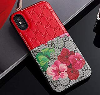 iPhone Xs Max Case - New Elegant Luxury PU Leather Classic Style Protect Cover Case Compatible Apple iPhoneXs Max Only(Red Flower)