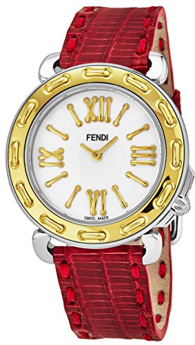 Fendi Selleria 35 mm Leather Band Swiss orologio al quarzo F8001345H0.TSN7