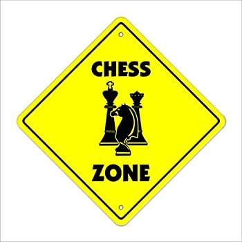 Chess Crossing Sign Zone Xing   Indoor/Outdoor   12  Tall Plastic Sign game board game player lover timer set pieces