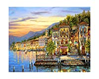 クロスステッチキット刺繍刺繍は11CT水溶キャンバスパターンタウンで14Ct風景画日没、タイプC、68X56Cmコットンフル、11CTプリントを設定します。