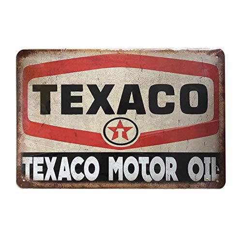 Placa metálica de Metal para Pared Retro Vintage Tin Sign, Aceite de Motor Texaco para Garaje, Garaje, Cueva, 20 x 30 cm