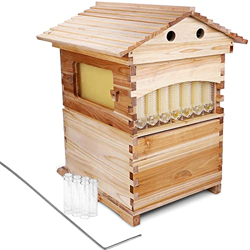 SUDOO Auto Flow Bee Hive Boxes Beekeeping Wooden Beehive House w/ 7 Pcs...