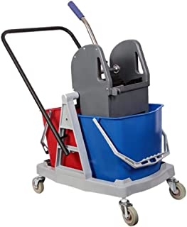 Eclat Double Mop Bucket with Trolley and Wringer - 34 Liters, Multi Color