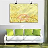 ParadiseDecor Yellow Wall Decor Mexican Dahlia Silhouette 28x40 Inch Wall Artworks Pictures for Living Room