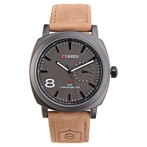 PIXNOR CURREN 8139 moda hombres ronda de cuarzo reloj de pulsera con caja de paquete la banda PU (negro)