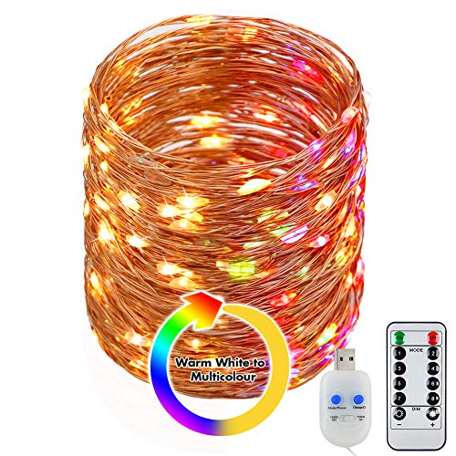 STARKER 200 LED USB Fairy Lights Plug in, 20m Colourful Copper String Lights 8 Modes Dimmable Twinkle Lights with Remote and Timer for Bedrooms Christmas Decorations