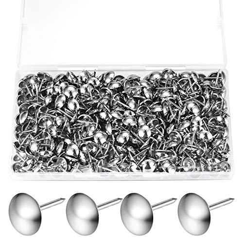 320 Stück Polsternägel, Polster Reißzwecken, Möbel Nägel Vintage für Sessel, Möbel, Bett, Dekornagel - 11x17 mm (Silber)