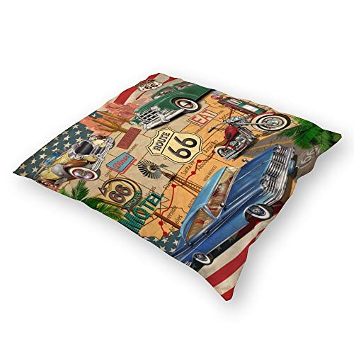 Throw Pillowcase Plush Pillowcase Super Soft Pillow Cover Case For Holding Pillow Double-Sided Vintage Roadtrip Route 66 Hooded (18''×18'')