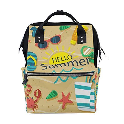 Sac à langer grande capacité pour maman et maman - Sac à dos pour bébé - Hello Summer Beach - Élégant et multifonction - Imperméable - Pour maman et papa