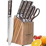Emojoy Couteau de Cuisines, Set Couteaux Acier Inoxydable Allemand 7 Pieces, Bloc de Couteaux avec...