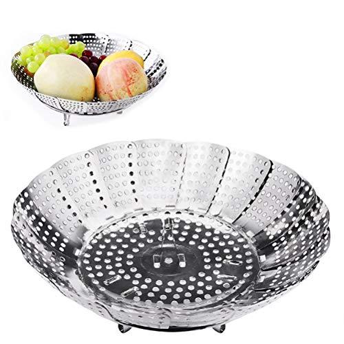 Vicloon Parownica do warzyw z wkładką do gotowania na parze ze stali nierdzewnej, składany kosz do gotowania na parze do warzyw, garnków i różnych gotowania