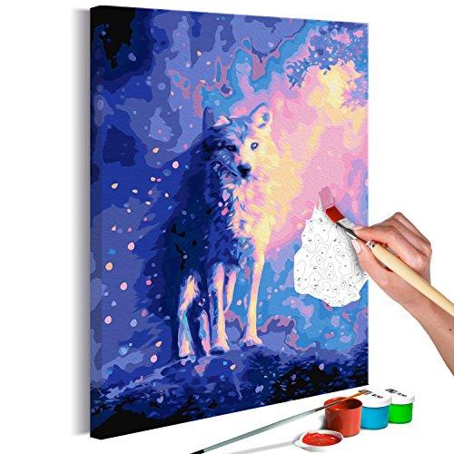 murando Pintura por Números Cuadros de Colorear por Números Kit para Pintar en Lienzo con Marco DIY Bricolaje Adultos Niños Decoracion de Pared Regalos - Lobo 40x60 cm - DIY - n-A-0342-d-a
