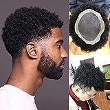 SLAYY Pelucas afroamericanas Mono Cordón con Base PU Pieza Hombre 120% Densidad Media Afro Apretado Curly Human Hair Toupee # 1 Jet Black 6'X8'