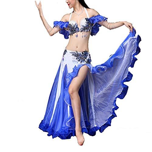 Dames Ruches Latin Dance Jurk Delicate buikdans kostuum Belly Dancing Rok Sexy Tops buikdansen Outfit Carnavalskleding voor Tango Samba Cha Cha Rumba (Color : BLUE, Size : L)