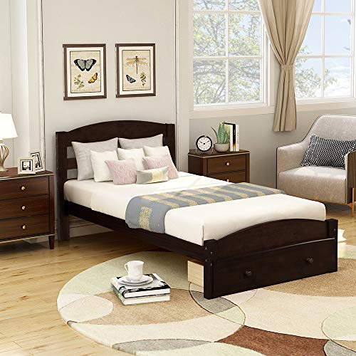 romatpretty Wood Platform Bed Frame with Headboard and Storage, Wooden Bed Frame with Storage Drawer and Wood Slat Support, for Home/Hostel/Dorms etc/College Dorms/Guest Rooms