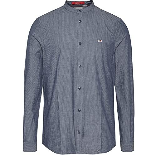 Tommy Jeans Herren Hemd TJM Mini Seersucker Mao Shirt Twilight Navy dunkelblau - L