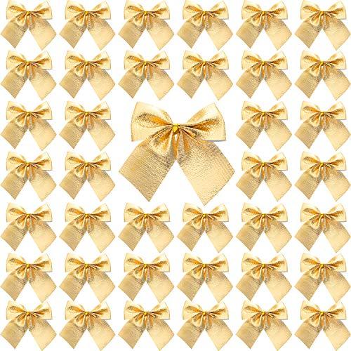 Sumind 72 Packung Mini Weihnachtsbaum Bögen 6 cm Band Bögen Ornamente für Weihnachtsbaum Hängende Dekoration (Gold)