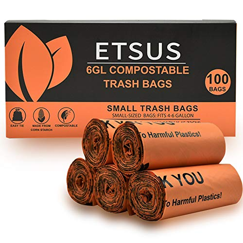 100% Compostable Trash Bags, Easy Tie, Fits 4-6 Gallon Trash Cans, 100 Count, Small Kitchen Trash Bags, Garbage Bags Biodegradable, Ecofriendly Trash Bags for Home Office Kitchen Bathroom & Car.