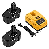 2 Packs 18 Volt 3.6Ah Ni-Mh DC9098 Replacement Battery and DC9310 Charger Compatible with Dewalt 18V Battery DC9098 DC9099 DC9096 DW9096 DW9098 DW9099