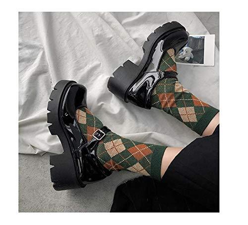 Youpin Zapatos de piel pequeños personalizados 2021 para mujer, estilo universitario británico, hueco, Mary Jane, zapatos grandes, zapatos para mujer (color: estilo 2, tamaño del zapato: 6)
