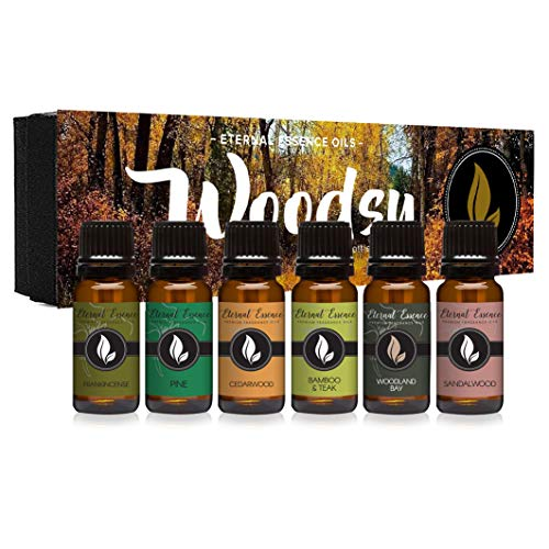 Woodsy Gift Set of 6 Premium Grade Fragrance Oils - Frankincense, Pine, Cedarwood, Bamboo & Teak, Woodland Bay, Sandalwood - 10Ml - Scented Oils