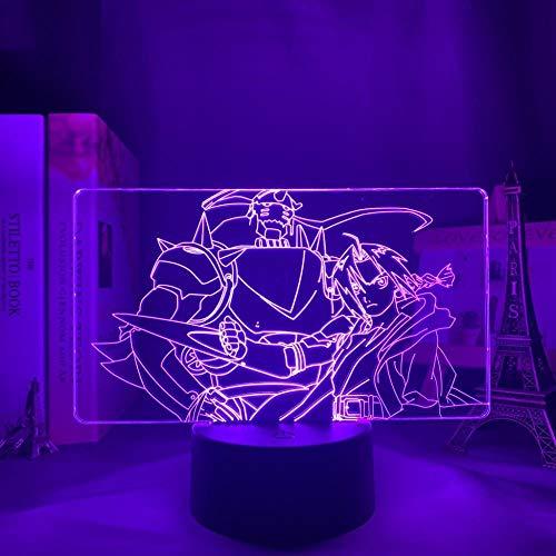 Decoração de quarto para adolescentes luz noturna 3D Anime Fullmetal Alchemist Edward Elric Light para crianças, quarto de criança, lâmpada de presente de aniversário, 7 cores com botão de toque LBINGKJ HOICHAN