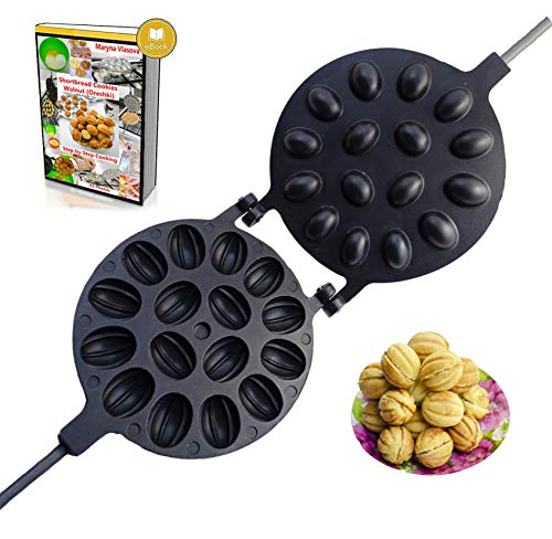 Walnut Cookie Mold Oreshki Nuts Maker Griddle – Non-stick 16 halves USSR Oreshki Cookie Candy Cake Maker – Special Walnut Cookie Cake Mold Skillet - Pastry Oreshnitsa Cake Form Pan - 1307477