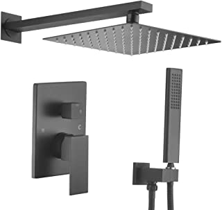 VELIMAX 10 Inches Rain Shower Head System Luxury Shower Combo Set Wall Mounted Shower Faucet Set with Rough-in Valve, Matte Black