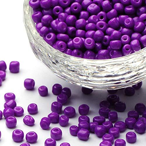 Fashewelry 30000pcs 12/0 cuentas de semilla de cristal para hornear pintura de pony, cuentas de semilla de color violeta oscuro para bricolaje pulseras collares artesanía suministros