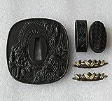 BOHIHYU Tsuba Fuchi Kashira Menuki Iron (Alloy) 11-23 (TDZH18, 2.75in,3.14in)