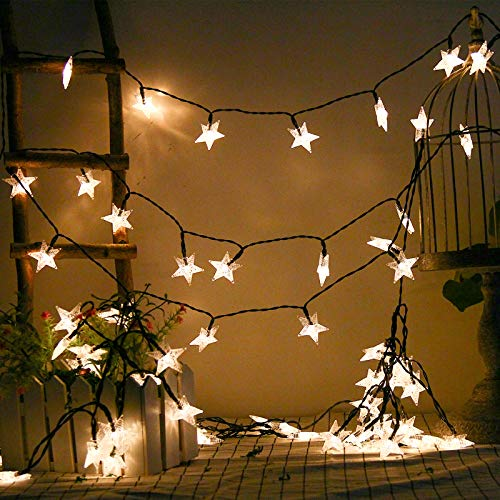 Solar Star Lights, 40ft/12m 80 LED Warm White Star String Lights, Waterproof Outdoor Solar Lights for Home/Yard/Patio/Garden