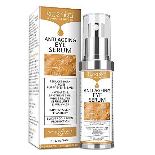 kizenka Anti-Aging-Augenserum, natürliche Inhaltsstoffe Anti-Falten-Serumentferner Augenringe Augenpflege gegen Schwellungen und Beutel Augencremes