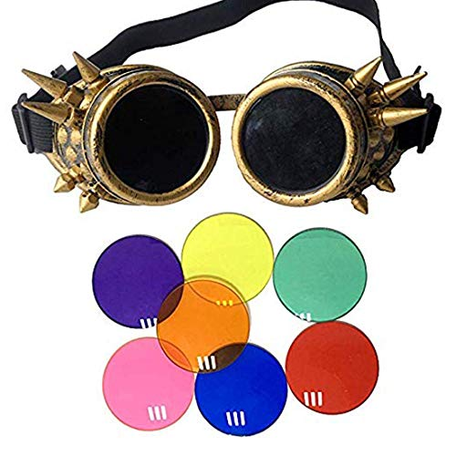 Lelinta Spiked Goggles Steampunk Welding Goth Cosplay Vintage Goggles Rustic,Copper frame + 7 pairs of different colours lens,Adjustable