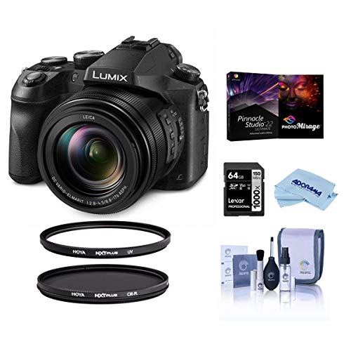 Panasonic Lumix DMC-FZ2500 Digital Point and Shoot Camera - Bundle with Hoya NXT Plus 67mm HMC UV Filter, NXT 67mm HMC CPL Filter, 64GB HDXC Card, Cleaning Kit, Microfiber Cloth, Pro Software Pack