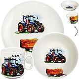 alles-meine.de GmbH 3 TLG. Geschirrset _ großer Teller / Kinderteller + Schüssel + Henkeltasse -  Traktor - Trecker mit Anhänger - Bauernhof  - inkl. Name - aus Porzellan / Ker..
