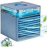 Micacorn Mobile Klimageräte, USB Air Cooler, 4 in 1 Klimaanlage, Luftbefeuchter und Luftreiniger, Desktop Luftkühler mit 3 Geschwindigkeitsstufen & 7 Stimmungslichtern für Zuhause und Büro(Blue)