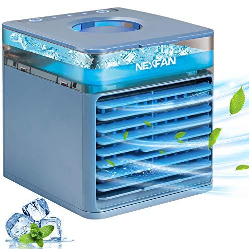 Micacorn Aire Acondicionado Portátil, Enfriador de Aire, 4 en 1 Air Cooler Humidificador Purificador USB Ventilador 3 Velocidades Ajustables & 7 Colores Luces LED para El Hogar, Oficina(Blue)