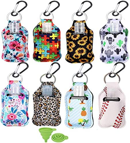 8 Pack Travel Bottles with Keychain Holder 1oz Portable Empty Keychain Bottle with Flip Hand product image