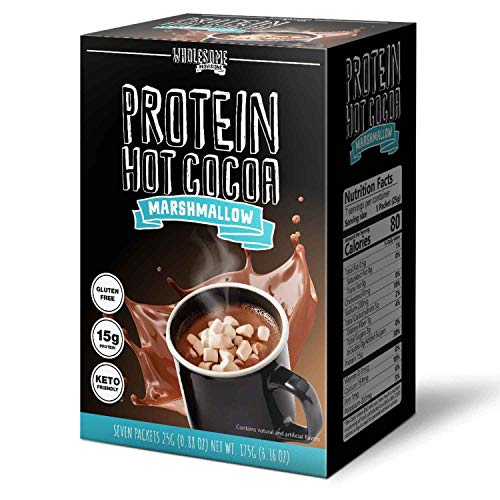 Protein Hot Chocolate, Keto Hot Chocolate Mix, Low Carb Hot Cocoa, 15g Protein, 2g Net Carbs, Low in Sugar, Instant Hot Coco, 7 Individual Macro-Controlled Packages (Marshmallow, 3 Pack)