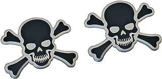 ERPART Black on Silver Crossbones Skull Cross Bones Skeleton Pirate Jolly Roger Real Aluminum Auto Emblem Badge Nameplate (Pack of 2)