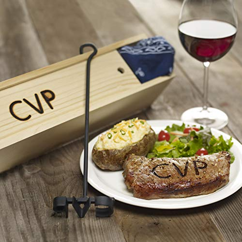BBQ Fans Classic Monogram Branding Iron for Steak, Buns, Wood & Leather