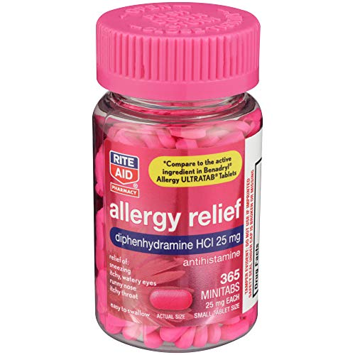 Rite Aid Antihistamine Allergy Relief with Diphenhydramine, 25 mg - 365 Count | Allergy Medicine Minitabs