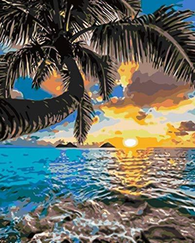 WAIGE Maluj według numerów dla dorosłych początkujących, pejzaż morski, malowanie farbą akrylową według numerów zestawy idealne na prezent i dekorację 40 x 50 cm