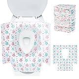 Comius Sharp 24 Piezas Cubiertas Desechables WC de Impermeable, Envasado Individualmente, Tamaño 60 x 65 cm, Fundas de Asiento de Inodoro Desechables de Portátil para Hospital, Hotel