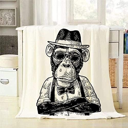 WH-CLA Cobija Monkey Hipster con Patas Cruzadas Vestido con Sombrero Humano, Camisa, Gafas De Sol Y Pajarita, Manta De Franela Decorativa, Acogedor para Todas Las Estaciones, Cálido, per