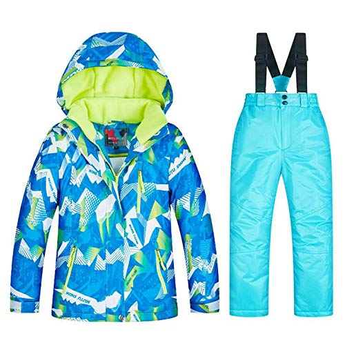 SHANGXIAN Outdoor Kinder Skianzug Winter warm wasserdicht Winddicht Snowboard Skijacke Und Hosen Sets,A,12(H:135Cm)
